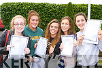 Lisa Brennan Barradubh, Annie Potts, Rachel McGowan, Emily tracey and Cody Brosnan celebrate after they collected the Leaving Cert results in Killarney Presentation on Wednesday