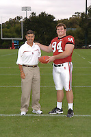 7 August 2006: Stanford Cardinal head coach Walt Harris and James McGillicuddy during Stanford Football's Team Photo Day at Stanford Football's Practice Field in Stanford, CA.