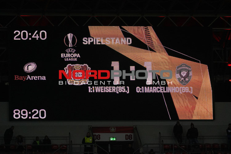 29.11.2018, BayArena, Leverkusen, Europaleque, Vorrunde, GER, UEFA EL, Bayer 04 Leverkusen (GER) vs. Ludogorez Rasgrad (BUL),<br />  <br /> DFL regulations prohibit any use of photographs as image sequences and/or quasi-video<br /> <br /> im Bild / picture shows: <br /> Endstand 1:1<br /> <br /> Foto © nordphoto / Meuter<br /> <br /> <br /> <br /> Foto © nordphoto / Meuter