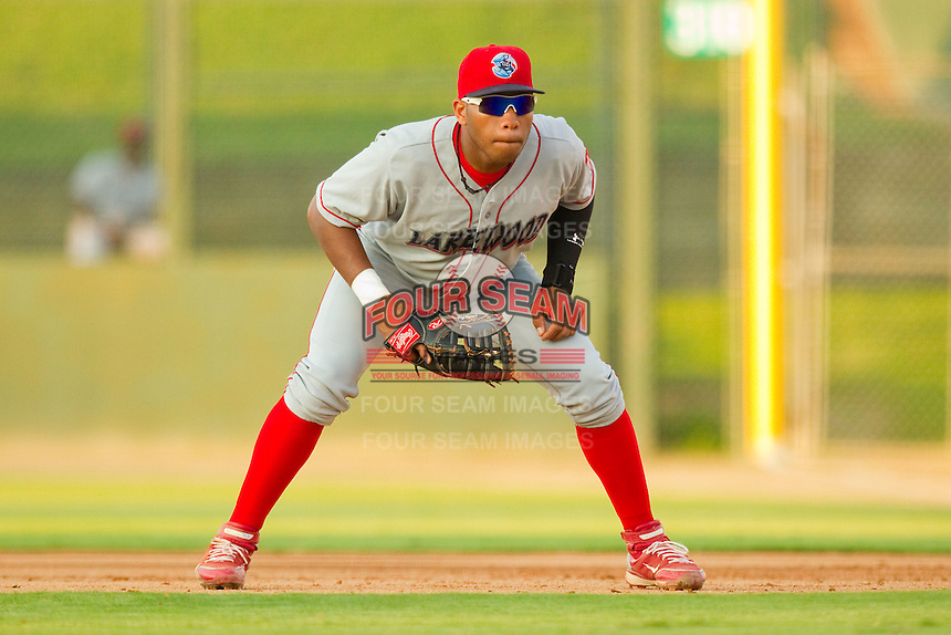 First baseman Jonathan Singleton #14 of the Lakewood BlueClaws on defense against the Kannapolis Intimidators at Fieldcrest Cannon Stadium July 14, 2010, in Kannapolis, North Carolina.  Photo by Brian Westerholt / Four Seam Images