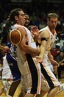 Aaron Nowell and Daniel Brooks are unable to control the ball during the NBL Basketball match between Wellington Saints and Devon Dynamos Taranaki at TSB Bank Arena, Wellington, New Zealand on Friday, 11 April 2008. Photo: Dave Lintott / lintottphoto.co.nz