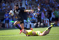 New Zealand's Ngarohi McGarvey-Black heads for the tryline during the men's semfinal against Australia. Day two of the 2020 HSBC World Sevens Series Hamilton at FMG Stadium in Hamilton, New Zealand on Sunday, 26 January 2020. Photo: Dave Lintott / lintottphoto.co.nz