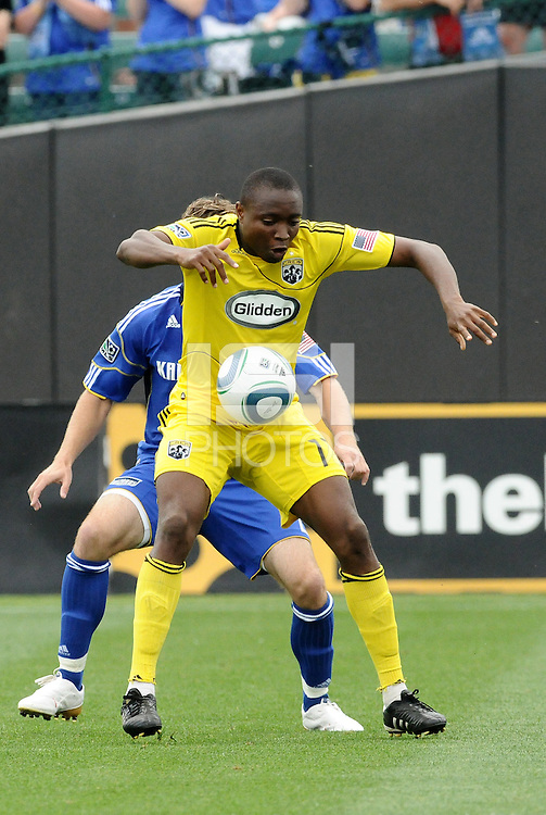 Emmanuel Ekpo (yellow), Michael Harrington...Kansas City Wizards were defeated 1-0 by Columbus Crew at Community America Ballpark, Kansas City, Kansas.
