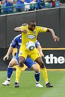 Emmanuel Ekpo (yellow), Michael Harrington...Kansas City Wizards were defeated 1-0 by Columbus Crew at Community America Ballpark, Kansas City, Kansas.