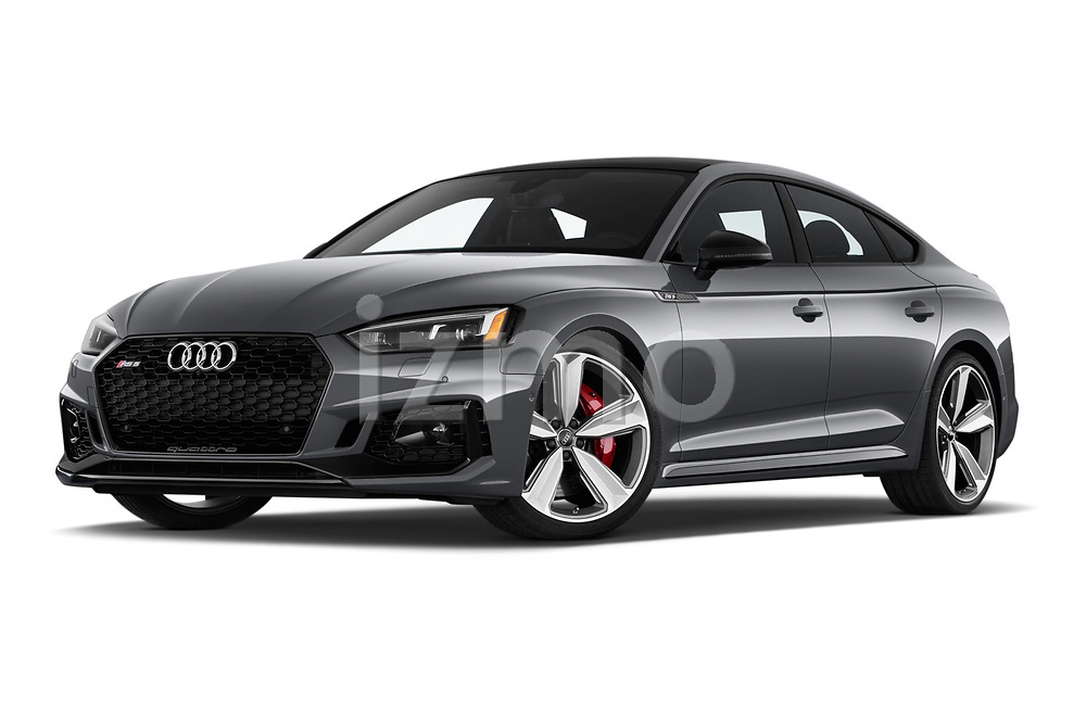 Stock pictures of low aggressive front three quarter view of 2019 Audi RS-5-Sportback - 5 Door Hatchback Low Aggressive