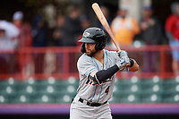 Akron RubberDucks Ka'ai Tom (4) at bat during an Eastern League game against the Erie SeaWolves on June 2, 2019 at UPMC Park in Erie, Pennsylvania.  Akron defeated Erie 7-2 in the first game of a doubleheader.  (Mike Janes/Four Seam Images)