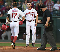 NWA Democrat-Gazette/ANDY SHUPE<br /> Arkansas Mississippi State Friday, March 17, 2017, during the inning at Baum Stadium in Fayetteville. Visit nwadg.com/photos to see more photographs from the game.