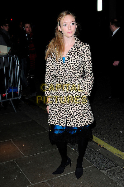 GUEST .London Evening Standard Theatre Awards, The Savoy, Strand, London.England, UK, November 28th 2010..full length black tights leopard print coat blue animal .CAP/CAS.©Bob Cass/Capital Pictures.