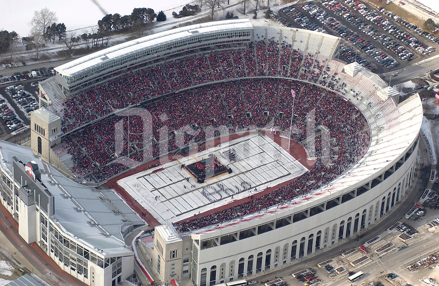 (Holman 1/18/2003 OSU19)  Aerial of Ohio Stadium during Ohio State University celebration of the 2002 national championship college football season -- celebration held in Columbus, OH Saturday, January 18, 2003.  (Dispatch photo by Craig Holman)