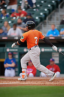 Norfolk Tides Ademar Rifaela (2) at bat during an International League game against the Buffalo Bisons on June 21, 2019 at Sahlen Field in Buffalo, New York.  Buffalo defeated Norfolk 2-1, the first game of a doubleheader.  (Mike Janes/Four Seam Images)