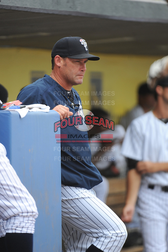 Staten Island Yankees coach Ty Hawkins  during game against the Mahoning Valley Scrappers at Richmond County Bank Ballpark at St.George on July 22, 2013 in Staten Island, NY.  Mahoning Valley defeated Staten Island 8-2.  Tomasso DeRosa/Four Seam Images