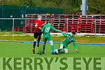 Kerry's Jack Toomey and Myles Hutton of Carlow/Kilkenny tussle for possession as Kerrys Tom Doyle is ready to assist in the League of Ireland U17 game in Mounthawk Park on Sunday.