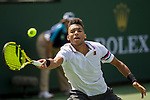 March 9, 2019: Felix Auger-Aliassime (CAN) hits a forehand in a match where he defeated Stefanos Tsitsipas (GRE) 6-4, 6-2 at the BNP Paribas Open at the Indian Wells Tennis Garden in Indian Wells, California. ©Mal Taam/TennisClix/CSM