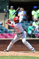 Hagerstown Suns shortstop Wilmer Difo (6) at bat during a game against the Lexington Legends on May 19, 2014 at Whitaker Bank Ballpark in Lexington, Kentucky.  Lexington defeated Hagerstown 10-8.  (Mike Janes/Four Seam Images)