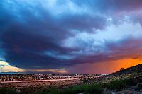 Storm monsoon weather season wind rain Arizona urban neighborhood city shelf cloud sunset pretty Glendale AZ