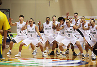 The Tall Blacks perform the haka during the International basketball match between the NZ Tall Blacks and Australian Boomers at TSB Bank Arena, Wellington, New Zealand on 25 August 2009. Photo: Dave Lintott / lintottphoto.co.nz