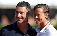 Trofeo Settecolli di nuoto al Foro Italico, Roma, 15 giugno 2013.<br /> Federica Pellegrini, of Italy, right, is awarded by actor Raoul Bova after winning in the women's 200 meters backstroke at the Sevenhills swimming trophy in Rome, 15 June 2013.<br /> UPDATE IMAGES PRESS/Isabella Bonotto