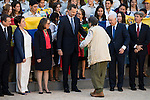 """King Felipe Vi of Spain and Miguel de la Quadra-Salcedo during Royal Audience to a representation of young participating in the cultural program """"Ruta BBVA 2015"""" at Zarzuela Palace in Madrid, July 28, 2015. <br /> (ALTERPHOTOS/BorjaB.Hojas)"""