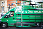 © Joel Goodman - 07973 332324 . 08/08/2011 . London , UK . Emergency Glass vehicle in Hackney on a 3rd night of rioting and looting in London , which followed a protest against the police shooting of Mark Duggan in Tottenham . Photo credit : Joel Goodman