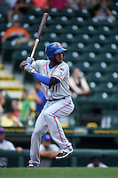 St. Lucie Mets shortstop Amed Rosario (11) at bat during a game against the Bradenton Marauders on April 12, 2015 at McKechnie Field in Bradenton, Florida.  Bradenton defeated St. Lucie 7-5.  (Mike Janes/Four Seam Images)