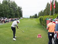 Lucas Bjerregaard (DEN) in action on the 1st hole during final round at the Omega European Masters, Golf Club Crans-sur-Sierre, Crans-Montana, Valais, Switzerland. 01/09/19.<br /> Picture Stefano DiMaria / Golffile.ie<br /> <br /> All photo usage must carry mandatory copyright credit (© Golffile | Stefano DiMaria)