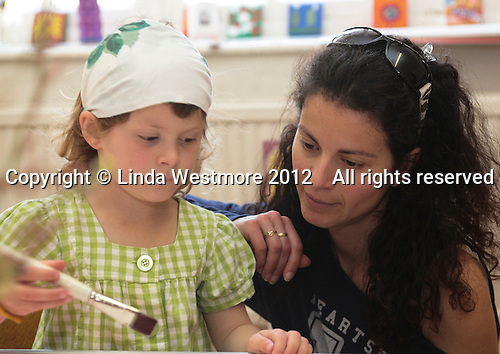 Parents helping to run Home Learning outreach in the village hall, Storrington, West Sussex, using the Steiner method.