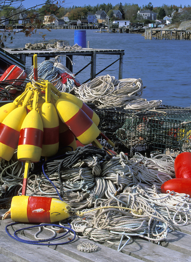 Crab trap buoys and ropes, Corea, Maine