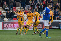 Rhys Healey of Newport County (second left) celebrates scoring his side's second goal during the Sky Bet League 2 match between Newport County and Carlisle United at Rodney Parade, Newport, Wales on 12 November 2016. Photo by Mark  Hawkins.