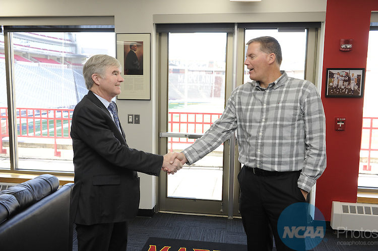 COLLEGE PARK, MD - March 5:    NCAA President Mark Emmert visits the University of Maryland in College Park, Maryland.
