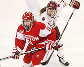 Dakota Woodworth (BU - 11), Meghan Grieves (BC - 17) -  The Boston College Eagles defeated the visiting Boston University Terriers 5-0 on BC's senior night on Thursday, February 19, 2015, at Kelley Rink in Conte Forum in Chestnut Hill, Massachusetts.