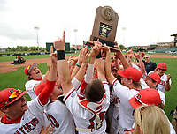 NWA Democrat-Gazette/ANDY SHUPE<br /> Cabot players celebrate their 2-1 win over Springdale Har-Ber Friday, May 19, 2017, in the Class 7A state championship game at Baum Stadium in Fayetteville. Visit nwadg.com/photos to see more photographs from the game.