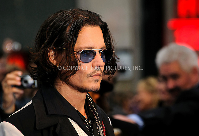WWW.ACEPIXS.COM . . . . .  ..... . . . . US SALES ONLY . . . . .....May 9 2012, London....Johnny Depp at the premiere of 'Dark Shadows' held at The Empire Cinema on May 9 2012 in London ....Please byline: FAMOUS-ACE PICTURES... . . . .  ....Ace Pictures, Inc:  ..Tel: (212) 243-8787..e-mail: info@acepixs.com..web: http://www.acepixs.com