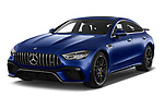 2019 Mercedes Benz AMG-GT 63-S 5 Door Hatchback angular front stock photos of front three quarter view