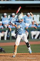 Brandon Martorano (4) of the North Carolina Tar Heels at bat against the Kentucky Wildcats at Boshmer Stadium on February 17, 2017 in Chapel Hill, North Carolina.  The Tar Heels defeated the Wildcats 3-1.  (Brian Westerholt/Four Seam Images)