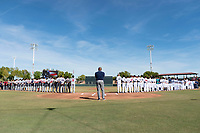 The National Anthem is sang before the Arizona Fall League Championship game between the Salt River Rafters and the Peoria Javelinas at Scottsdale Stadium on November 17, 2018 in Scottsdale, Arizona. Peoria defeated Salt River 3-2 in extra innings. (Zachary Lucy/Four Seam Images)