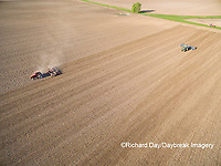 63801-10119 Farmer tilling field before planting corn-aerial Marion Co. IL