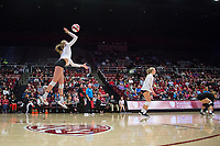 STANFORD, CA - November 15, 2017: Kate Formico at Maples Pavilion. The Stanford Cardinal defeated USC 3-0 to claim the Pac-12 conference title.