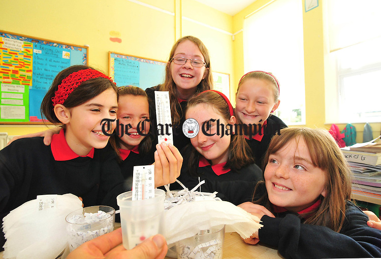 Grace Flynn, Niamh Smith, Ruth Hosty, Ann Marie Flanagan, Emma Killowry and Una Cotter with their science project at Doora National School. Photograph by Declan Monaghan