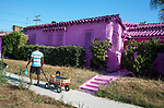House in Los Angeles painted all pink as part of an art project.