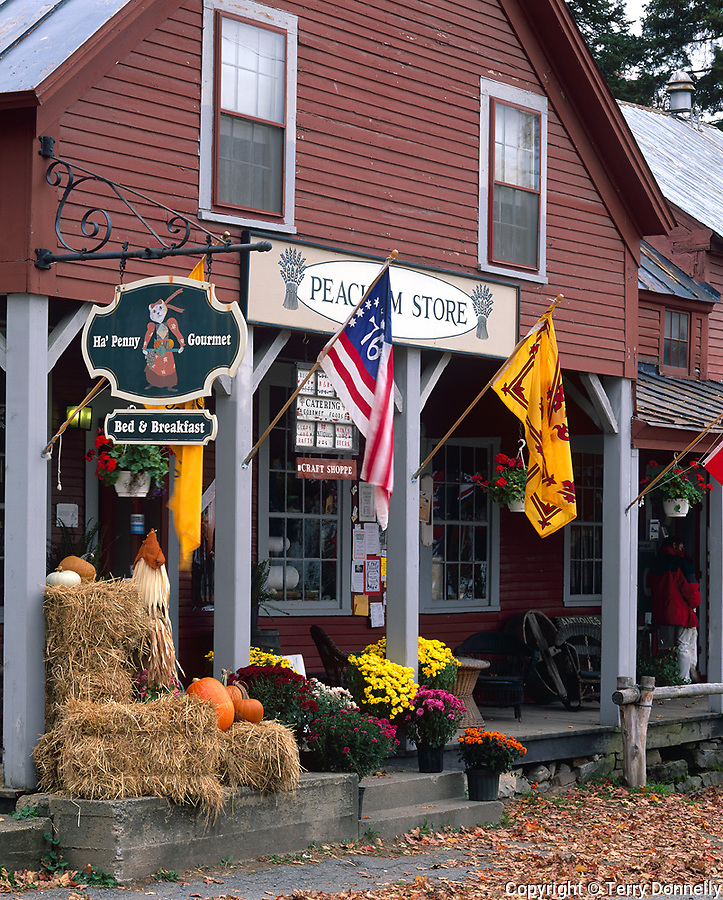 Peacham, VT<br /> Peacham Store with fall decorations; Caledonia County