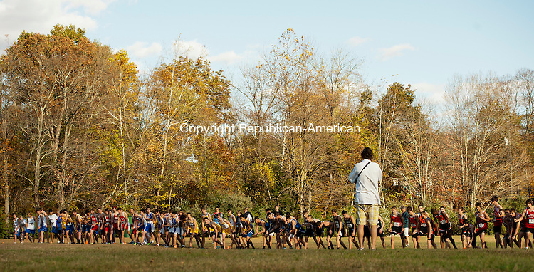 THOMASTON, CT - 17 October 2013-101813EC03--    Boys line up for the Berkshire League cross country championships at Black Rock State Park Friday. Erin Covey Republican American.