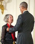 United States President Barack Obama presents the 2015 National Humanities Medal to Louise Glück, Poet of Cambridge, Massachusetts during a ceremony in the East Room of the White House in Washington, DC on Thursday, September 22, 2016.<br /> Credit: Ron Sachs / CNP