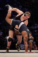 STATE COLLEGE, PA - FEBRUARY 8: Bobby Telford of the Iowa Hawkeyes and Jimmy Lawson of the Penn State Nittany Lions during their match on February 8, 2015 at the Bryce Jordan Center on the campus of Penn State University in State College, Pennsylvania. The Hawkeyes won 18-12. (Photo by Hunter Martin/Getty Images) *** Local Caption *** Jimmy Lawson;Bobby Telford