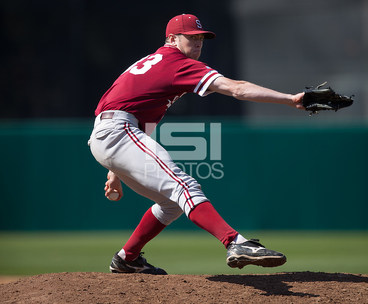 LOS ANGELES, CA - April 10, 2011: Chris Reed of Stanford baseball pitches during Stanford's game against USC at Dedeaux Field in Los Angeles. Stanford lost 6-2.