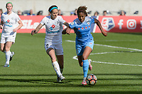 Bridgeview, IL - Saturday April 22, 2017: Shea Groom, Casey Short during a regular season National Women's Soccer League (NWSL) match between the Chicago Red Stars and FC Kansas City at Toyota Park.