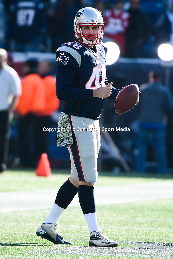 November 23, 2014 - Foxborough, Massachusetts, U.S.- New England Patriots long snapper Danny Aiken (48) prepares for  the NFL game between the Detroit Lions and the New England Patriots held at Gillette Stadium in Foxborough Massachusetts. The Patriots defeated the Lions 34-9. Eric Canha/CSM