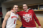 Wisconsin Badgers guard Ben Brust (1) and Josh Gasser (21) celibate after their victory against the Oregon Ducks in the third-round game in the NCAA college basketball tournament Saturday, April 22, 2014 in Milwaukee. The Badgers won 85-77. (Photo by David Stluka)