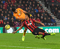 Bournemouth's Nathan Ake (right) battles for possession with Wolverhampton Wanderers' Raul Jimenez (left) <br /> <br /> Photographer David Horton/CameraSport<br /> <br /> The Premier League - Bournemouth v Wolverhampton Wanderers - Saturday 23rd November 2019 - Vitality Stadium - Bournemouth<br /> <br /> World Copyright © 2019 CameraSport. All rights reserved. 43 Linden Ave. Countesthorpe. Leicester. England. LE8 5PG - Tel: +44 (0) 116 277 4147 - admin@camerasport.com - www.camerasport.com