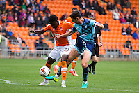 Joe Jacobson of Wycombe Wanderers pokes the ball away from Bright Osayi-Samuel of Blackpool during the Sky Bet League 2 match between Blackpool and Wycombe Wanderers at Bloomfield Road, Blackpool, England on 20 August 2016. Photo by James Williamson / PRiME Media Images.