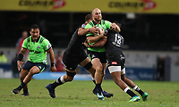 DURBAN, SOUTH AFRICA - MAY 05: Matt Faddes of the Pulse Energy Highlanders during the Super Rugby match between Cell C Sharks and Highlanders at Jonsson Kings Park Stadium in Durban, South Africa on Saturday, 5 May 2018. Photo: Steve Haag / stevehaagsports.com